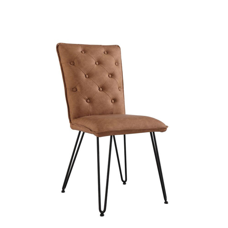 CH16-TAN Studded Back Chair with Hairpin Legs - Tan