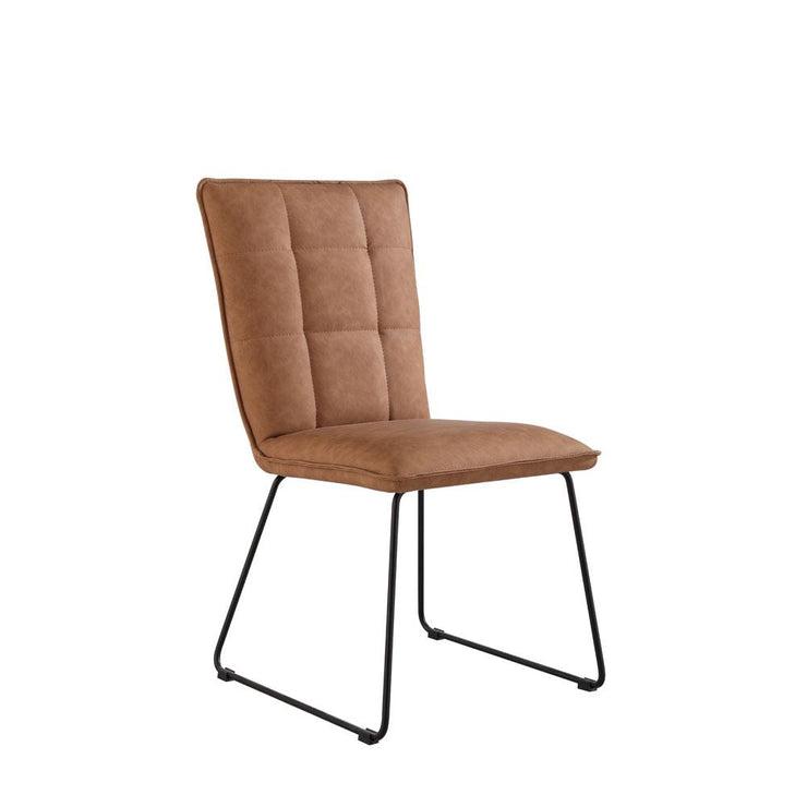 Panel Back Chair with Angled Legs - Tan