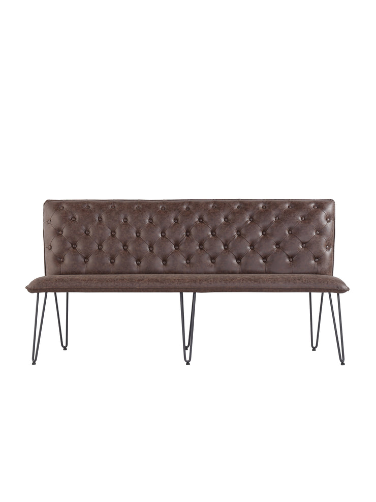 Large Studded Back Bench with Hairpin Legs - Brown