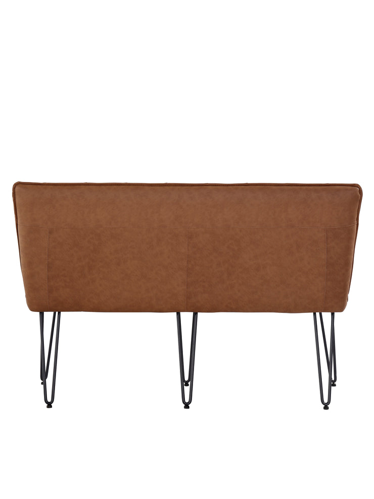 Small Studded Back Bench with Hairpin Legs - Tan