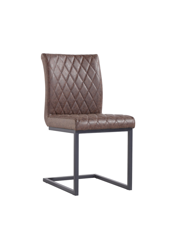 CH22-BR Diamond Stitch Dining Chair - Brown