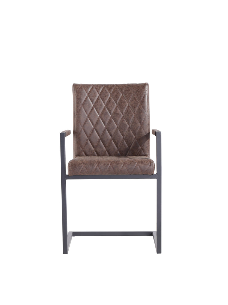 CH23-BR Diamond Stitch Carver Chair - Brown