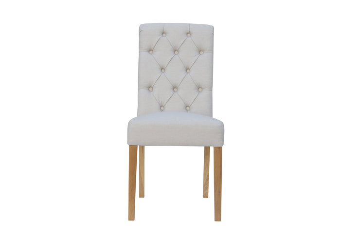 CH28-NAT Button Back Chair with Scroll Top - Natural