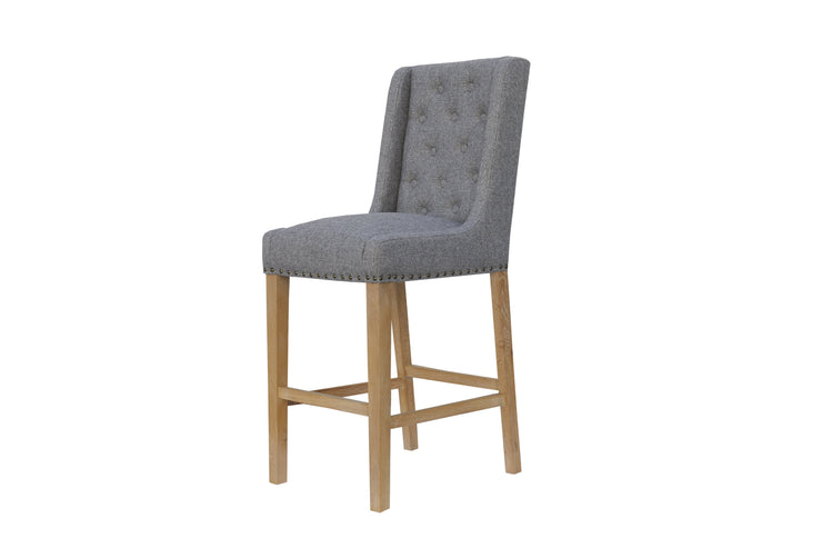 Button Back Stool with Studs - Light Grey