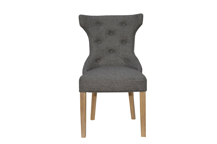 CH32-DG Winged Button Back Chair with Metal Ring - Dark Grey