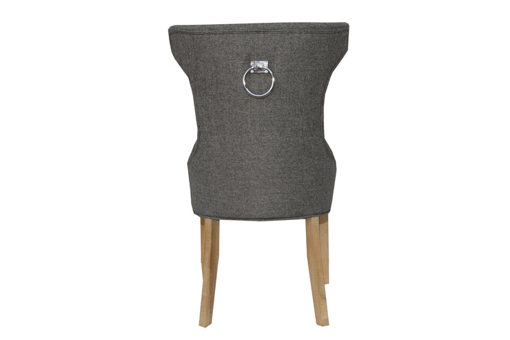 Winged Button Back Chair with Metal Ring - Dark Grey