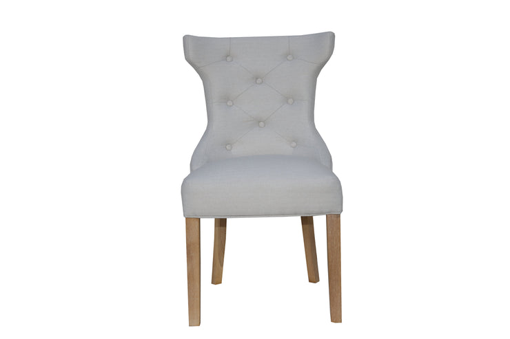 CH32-NAT Winged Button Back Chair with Metal Ring - Natural