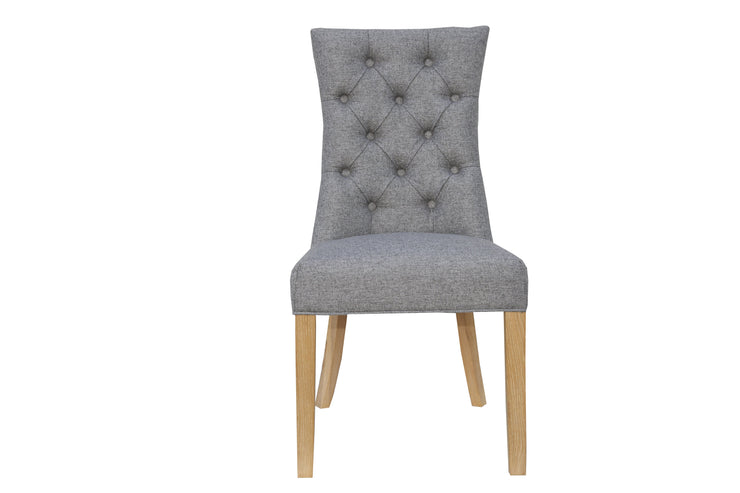 Curved Button Back Chair - Light Grey