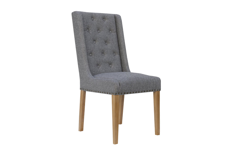 Button Back & Studded Dining Chair - Light Grey