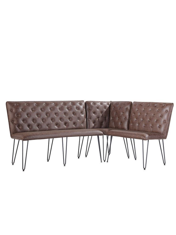 Studded Back Corner Bench - Brown