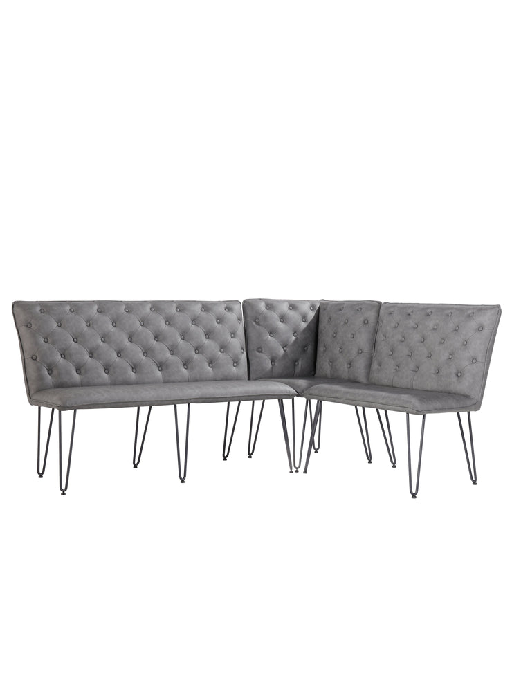 Large Studded Back Bench with Hairpin Legs - Grey