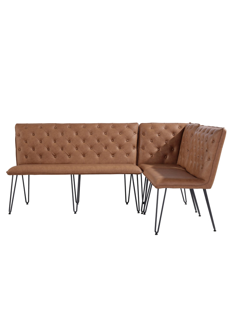 CH20-TAN Small Studded Back Bench with Hairpin Legs - Tan