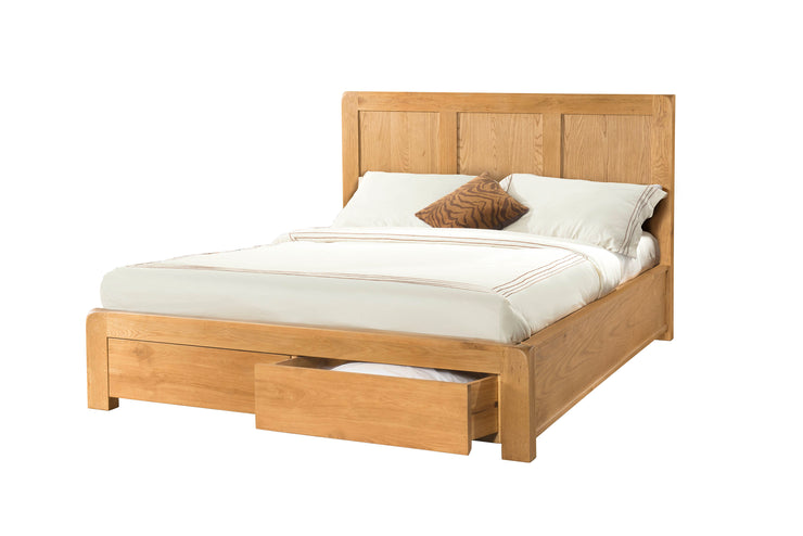 Curvus Oak Bed with 2 Storage Drawers