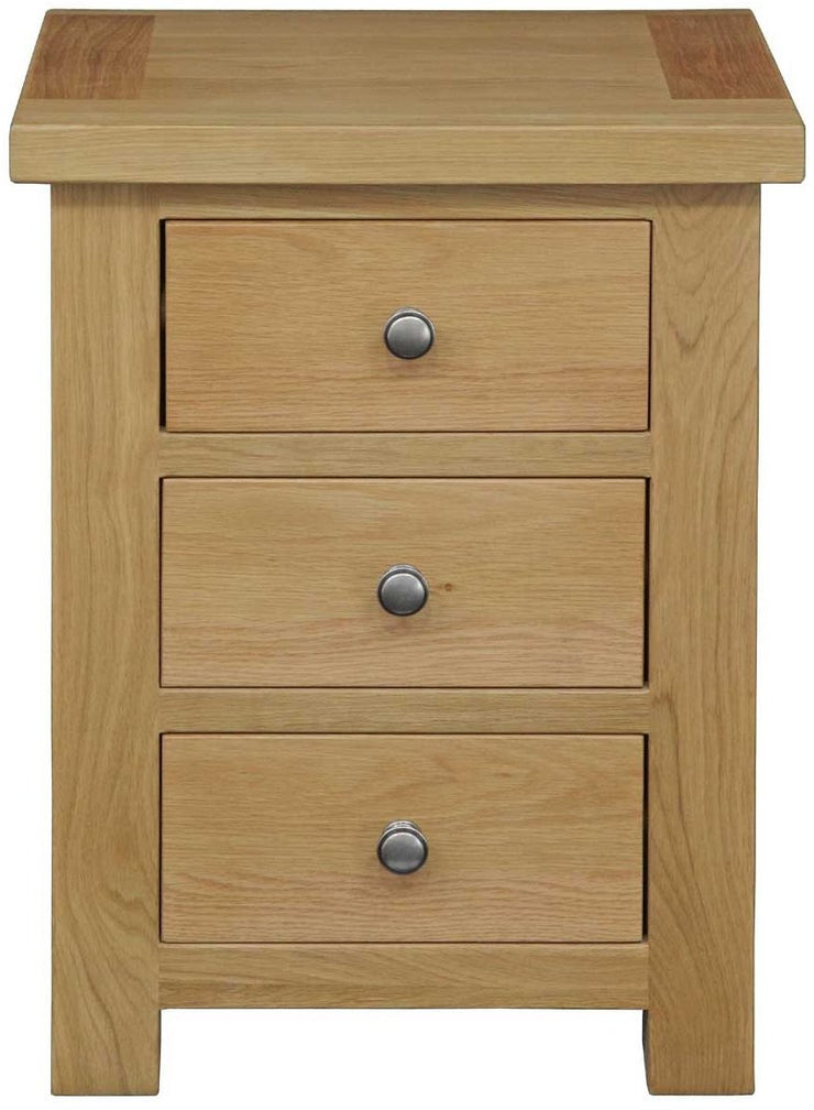 Dinton Oak 3 Drawer Bedside Table