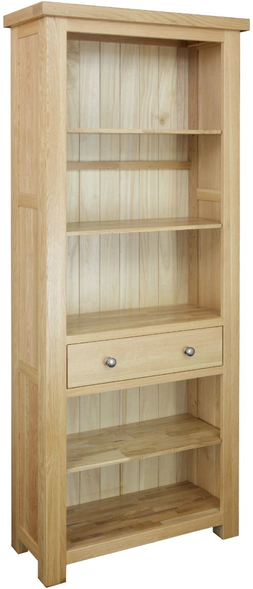 Dinton Oak Large Bookcase with Drawer