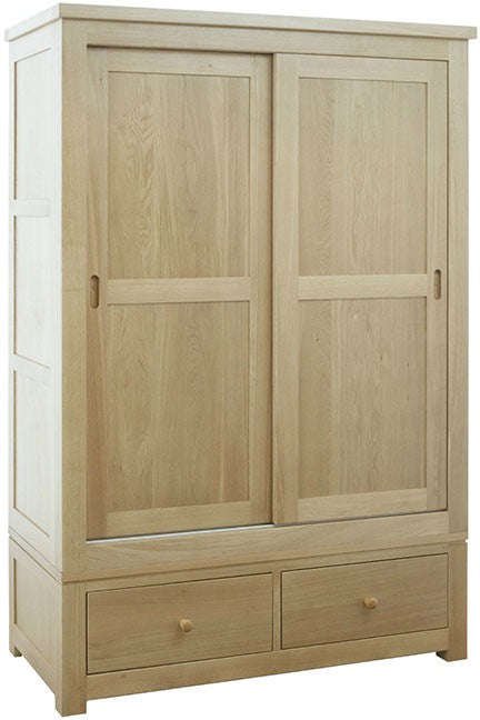 Dinton Oak Sliding Door Wardrobe with Drawers