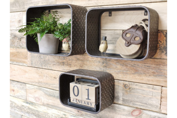 Set of 3 Industrial Box Shelves