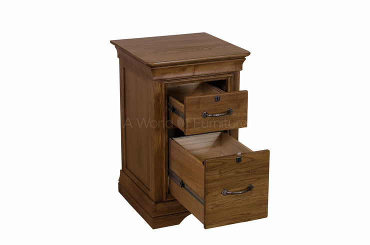 French Oak 2 Drawer Filing Cabinet with Locks
