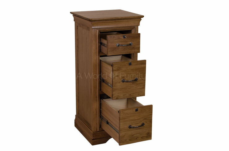 French Oak 3 Drawer Filing Cabinet with Locks