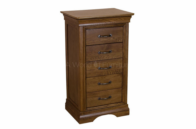 French Oak 5 Drawer Narrow Chest of Drawers