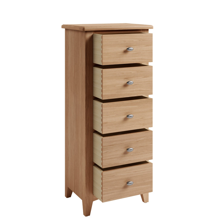 Riva Oak 5 Drawer Narrow Chest of Drawers