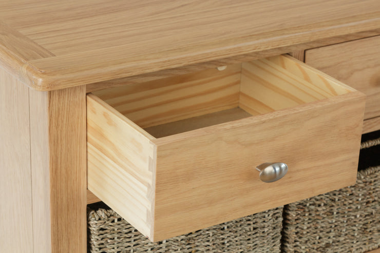 Riva Oak 2 Drawer, 4 Basket Unit