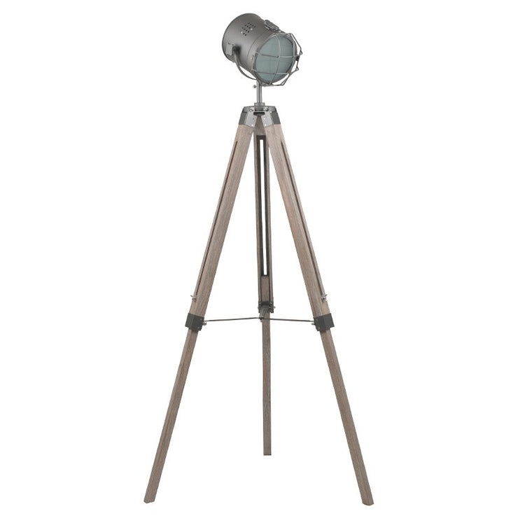 White Wash & Silver Metal Tripod Floor Lamp