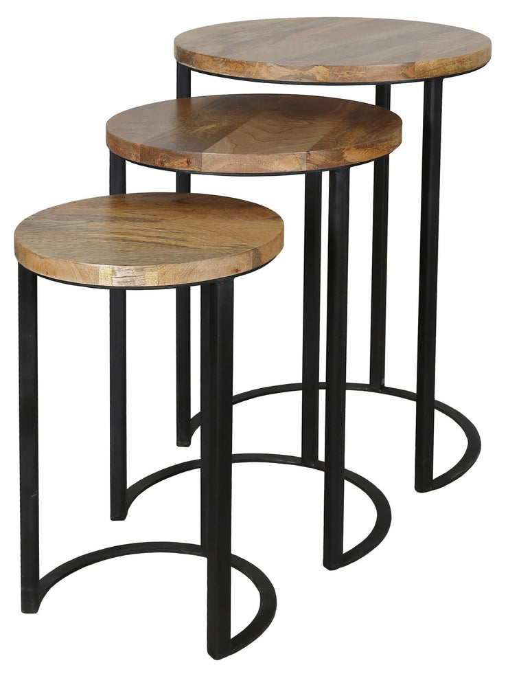 Jaipur Industrial Mango Nest of 3 Round Tables