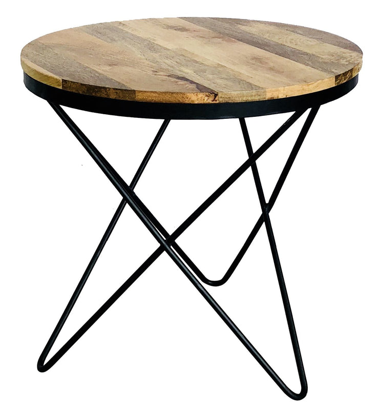 Jaipur Industrial Mango Round Hairpin Leg Side Table