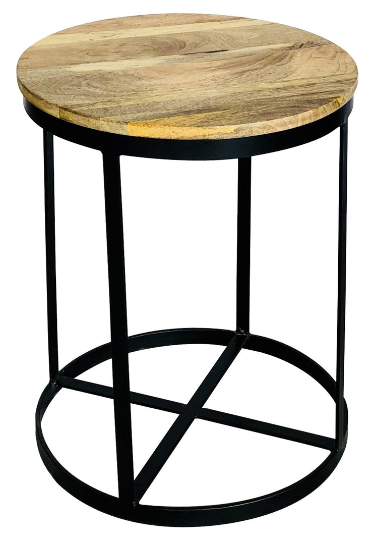 Jaipur Industrial Mango Round Side Table with X Base