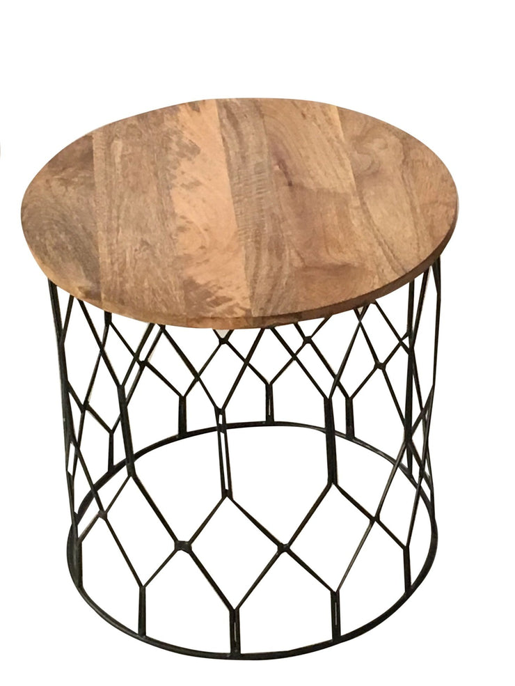 Jaipur Industrial Mango Wire Base Round Large Side Table