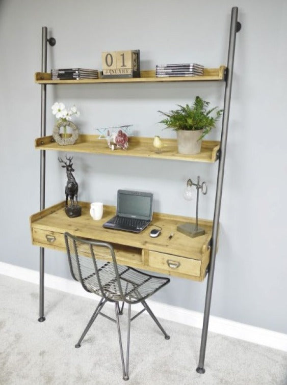 Ladder Style Shelves with Desk