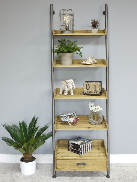 Ladder Style Shelves with Drawer