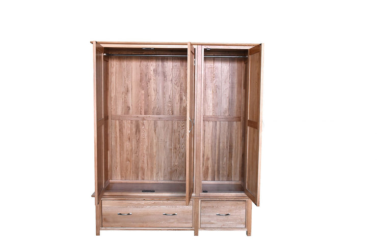 Newland Oak Triple Wardrobe with Drawers