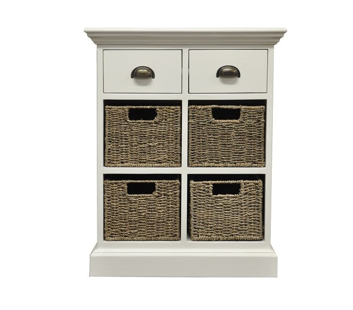 Poole Painted 2 Drawer 4 Basket Unit