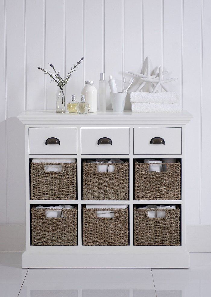 Poole Painted 3 Drawer 6 Basket Unit