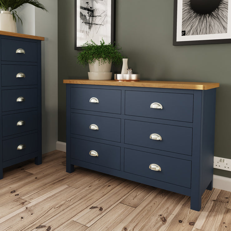 Stratford Blue Painted 6 Drawer Chest of Drawers
