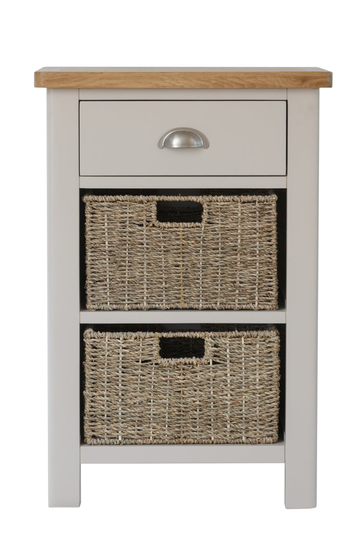 Stratford Dove Grey Painted 1 Drawer 2 Basket Unit