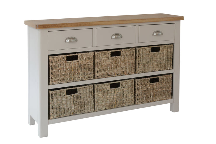 Stratford Dove Grey Painted 3 Drawer 6 Basket Unit