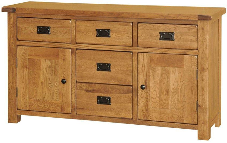 Rustic Oak 2 Door 5 Drawer Sideboard
