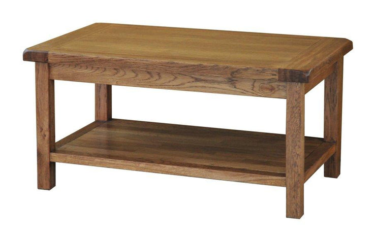 Rustic Oak Coffee Table with Shelf