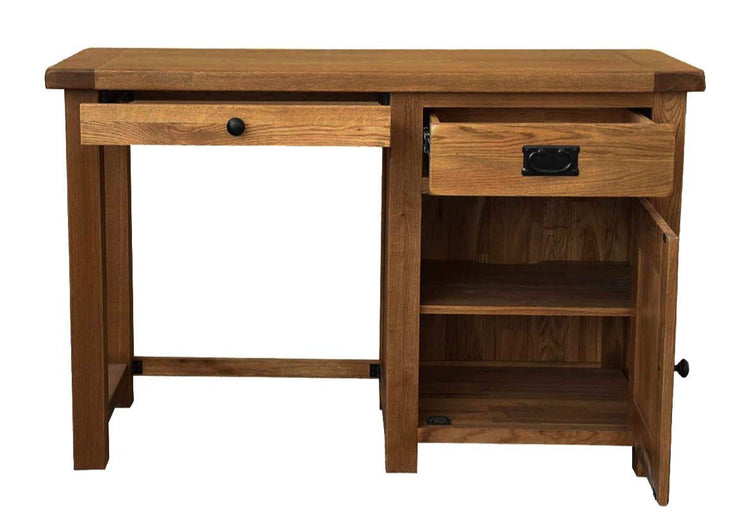 Rustic Oak Single Pedestal Computer Desk