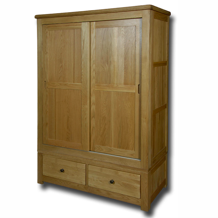 Manhattan Oak Sliding Door 2 Drawer Double Wardrobe
