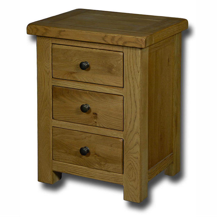 Manhattan Oak 3 Drawer Bedside Table