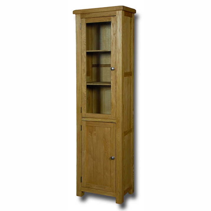 Manhattan Oak Glass Door Slim Bookcase