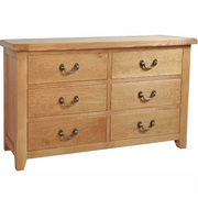 Somerset Oak 6 Drawer Wide Chest of Drawers