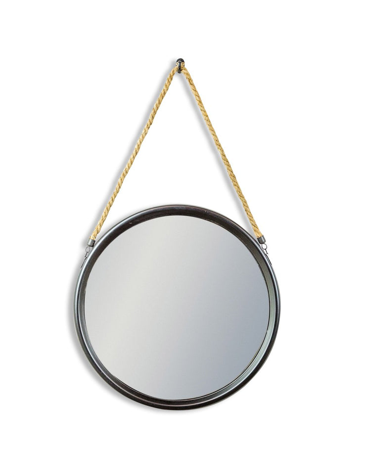 Small Black Round Rope Hanging Mirror