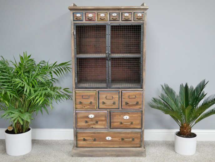 Tall Storage cabinet with Wire Doors