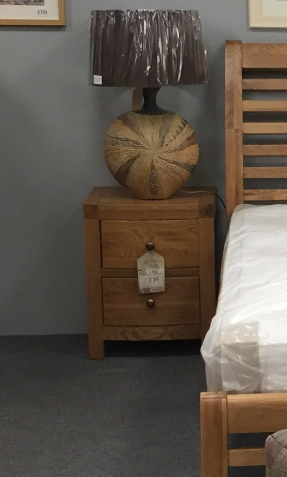 Vienna Oak Bow Fronted 2 Drawer Bedside Table