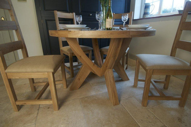 Wessex Oak Fixed Top Round Dining Table